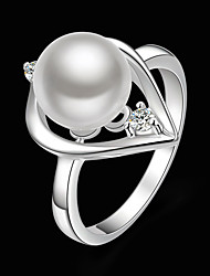 cheap -Women's Pearl Cubic Zirconia Silver Plated Imitation Diamond Statement Ring - Fashion White Ring For Party