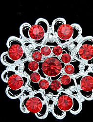 cheap -Women's Fashion Red Crystal Silver Plated Brooch