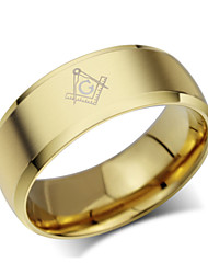cheap -Men's Band Ring - Titanium Steel Fashion 7 / 8 / 9 Golden For Party / Daily / Casual