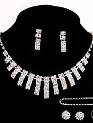 Party Crystal Earrings Necklace Jewelry Sets Ring Bracelet Gift with 2 Pairs of Rhinestone Earrings for Wedding Dress