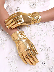 New Gold Women's Wrist Length Party Evening Events Fingertip Gloves Bridal Glove With DIY Pearls and Rhinestones