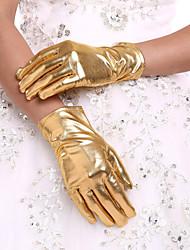 Недорогие -Искусственная кожа До запястья Перчатка Свадебные перчатки С Оборки