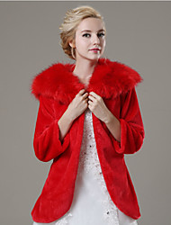 cheap -Faux Fur Wedding Party Evening Casual Fur Coats Coats / Jackets