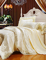 Milky Bedding Set Queen King Size Luxury Silk Cotton Blend Lace Duvet Cover Sets Jacquard Pattern