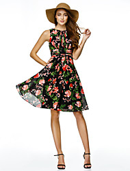cheap -A-Line / Fit & Flare Jewel Neck Knee Length Chiffon Cocktail Party Dress with Pattern / Print by TS Couture®