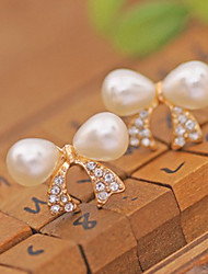 cheap -Women's Stud Earrings / Ear Cuff - Pearl, Crystal, Imitation Pearl Cross, Bowknot Luxury White For Party / Daily / Casual / Gold Plated / Imitation Diamond