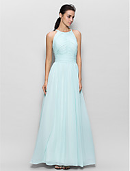cheap -Sheath / Column Jewel Neck Floor Length Chiffon Bridesmaid Dress with Draping by LAN TING BRIDE® / Beautiful Back