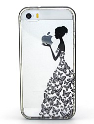 abordables -Coque Pour iPhone 5 Apple Coque iPhone 5 Lampe LED Allumage Auto Transparente Motif Coque Jeux Avec Logo Apple Flexible TPU pour iPhone