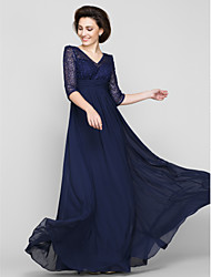 A-Line V-neck Ankle Length Chiffon Lace Mother of the Bride Dress with Lace Ruching by LAN TING BRIDE®