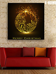 E-HOME® Stretched LED Canvas Print Art Golden Decorations Christmas Series LED Flashing Optical Fiber Print One Pcs