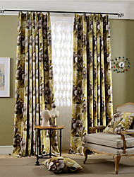 Grommet Top Double Pleat Two Panels Curtain Country Modern Neoclassical , Print Bedroom Polyester Material Blackout Curtains Drapes Home