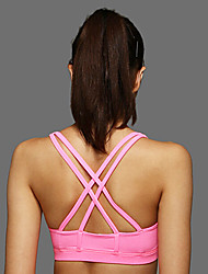 cheap -Strappy Sports Bra Padded Medium Support For Yoga / Running - Yellow / Blue / Pink Breathable, Soft, Shockproof Women's Polyester / Stretchy / Sweat-wicking