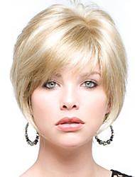 Недорогие -идеально короткие прямые человек девственный Реми руки связали верхнюю женскую шапки парик волос