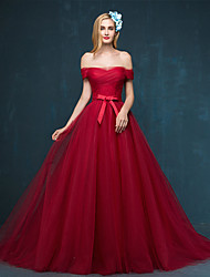 cheap -A-Line Off Shoulder Sweep / Brush Train Tulle Formal Evening Dress with Bow(s) Sash / Ribbon Side Draping by TS Couture®