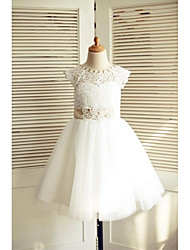 A-Line Knee Length Flower Girl Dress - Lace Satin Tulle Sleeveless Scoop Neck with Beading by thstylee