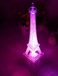 10*10*15CM Push Button Switch Romantic Monochrome Colorful Light The Eiffel Tower Light LED Lamp