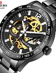 baratos -Homens Relógio Esqueleto Calendário / Impermeável Aço Inoxidável Banda / Automático - da corda automáticamente