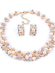 cheap -Women's New Hot European Style Fashion Imitation Pearl Bridal Choker Necklace Earrings Set