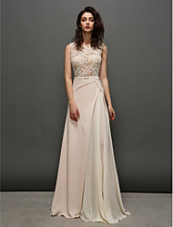 A-Line Jewel Neck Sweep / Brush Train Chiffon Prom Dress with Lace by TS Couture®