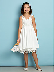 cheap -A-Line V Neck Knee Length Chiffon / Lace Junior Bridesmaid Dress with Lace by LAN TING BRIDE® / Natural / Mini Me