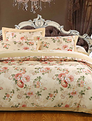 cheap -Duvet Cover Sets Floral Luxury 100% Cotton Cotton Jacquard Jacquard 4 Piece
