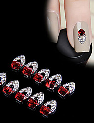 cheap -New Charming 10Pcs 3D Nail Art Red Crystal Alloy DIY Decoration Tips Rhinestones For Nails