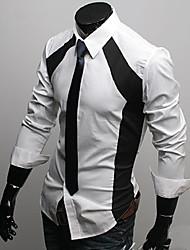 Недорогие -Мужской Однотонный Рубашка На каждый день,Полиэстер,Длинный рукав,Черный / Белый