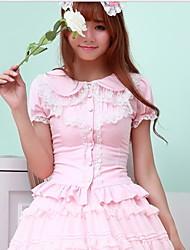 billige -Bluse/Skjorte Sød Lolita Hvid Sort Lys pink Lolita Tilbehør FRP