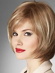 Недорогие -Человеческие волосы без парики Натуральные волосы Прямой Короткие Прически 2019 Стиль Без шапочки-основы Парик / Прямой силуэт