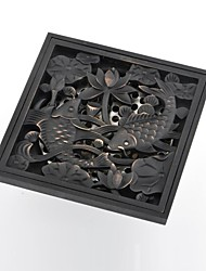 cheap -Contemporary Goldfish Pattern Square Antique Copper Brass Drain