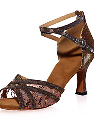 "cheap -Women's Latin Sparkling Glitter Sandal Practice Indoor Performance Sequin Buckle Sparkling Glitter Flared Heel Black Red Brown Gold 2"" -"