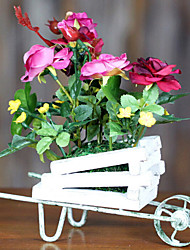 European Pastoral, Wrought Iron Wooden Cart, High-Grade Simulation Flowers
