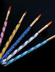 Недорогие -1set винтовая ногтей акрил ручки резьба кристалл ручка ручка (щетка 5шт / комплект)