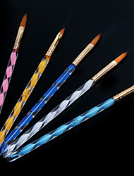 1set penna penna penna di cristallo acrilico scultura pennello nail art elicoidale (5pcs / set)