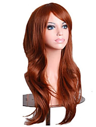 cheap -Capless Mix Color Long Length High Quality Natural  Curly Hair Synthetic Wigs with Side Bang