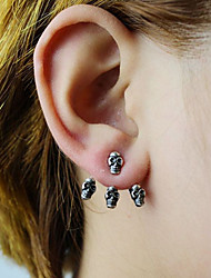 cheap -Stud Earrings Silver Plated Gold Plated Fashion Skull / Skeleton Silver Golden Jewelry Party Halloween Daily Casual 2pcs