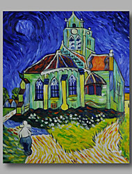 cheap -Ready to hang Stretched Hand-Painted Abstract Oil Painting Canvas Van Gogh repro Church Night one Panel