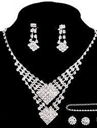 Wedding/Party Jewelry Sets Crystal Pendant Necklace Ring Bracelet Drop Earrings Sets with 2 Pairs of Rhinestone Earrings