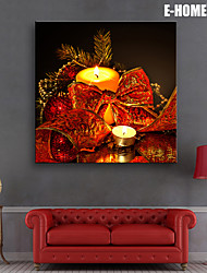 E-HOME® Stretched LED Canvas Print Art Candlelight Christmas Series LED Flashing Optical Fiber Print One Pcs