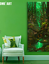 E-HOME® Stretched LED Canvas Print Art The Tree House LED Flashing Optical Fiber Print One Pcs