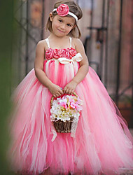 Ball Gown Ankle Length Flower Girl Dress - Polyester Tulle Sleeveless Spaghetti Straps with Flower by thstylee
