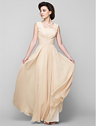 cheap -A-Line Square Neck Floor Length Chiffon Mother of the Bride Dress with Beading by LAN TING BRIDE®
