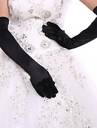 White/Black Opera Length Fingertips Glove Spandex  Bride Gloves with DIY Pearls and Rhinestones