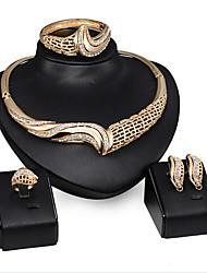 abordables -Collar / Pendiente / Brazalete / Anillo (Baño en Oro / Zirconia Cúbica)- Fiesta para Mujer