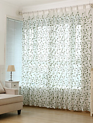 cheap -Sheer Curtains Shades Living Room Leaf Polyester Embroidery