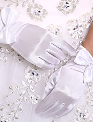 DIY Pearls and Rhinestones With Wedding Bridal Gloves Wrist Length Satin Rhinestone White Fingertip Glove Wedding Events Accessories