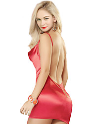 abordables -Sexy Chemises & Blouses Vêtement de nuit Femme - Dos Nu, Couleur Pleine