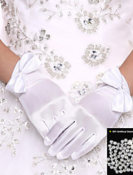 Wrist Length Satin Rhinestone  Bridal Gloves White Fingertip Glove Wedding Events Accessories+DIY Pearls and Rhinestones