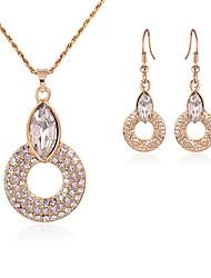 abordables -Conjunto de joyas - Zirconia Cúbica, Diamante Sintético Fiesta, Trabajo, Europeo Incluir Dorado Para Fiesta / Ocasión especial / Aniversario / Pendientes / Collare