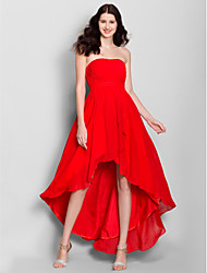 cheap -A-Line Strapless Asymmetrical Chiffon Bridesmaid Dress with Side Draping by LAN TING BRIDE®